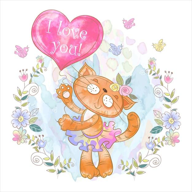 Śliczna koteczka z balonem w kształcie serca Premium Wektorów