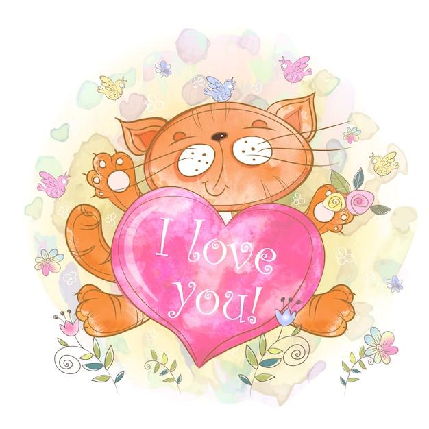 Śliczna kotka z sercem. kocham cię. dzień walentyna. Premium Wektorów