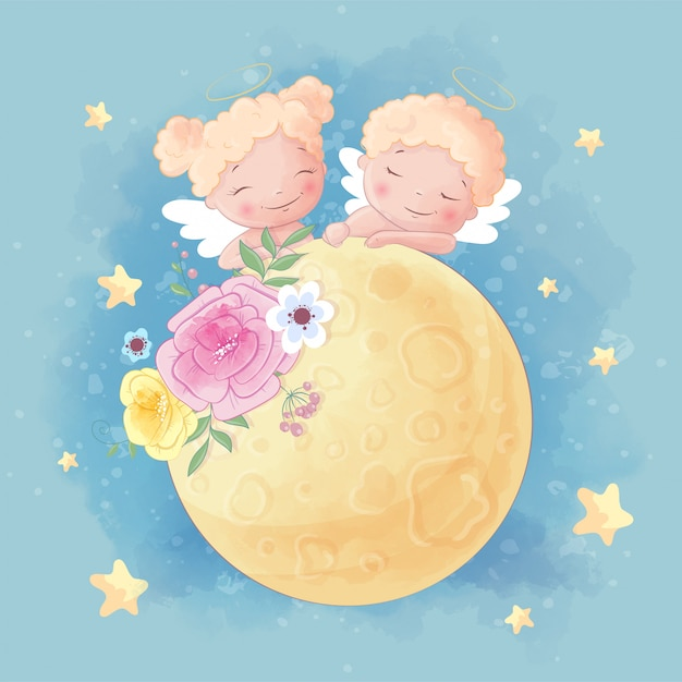 Śliczna Kreskówka Dwa Anioła Chłopiec I Dziewczyna Na Księżyc Z Pięknymi Kwiatami Premium Wektorów