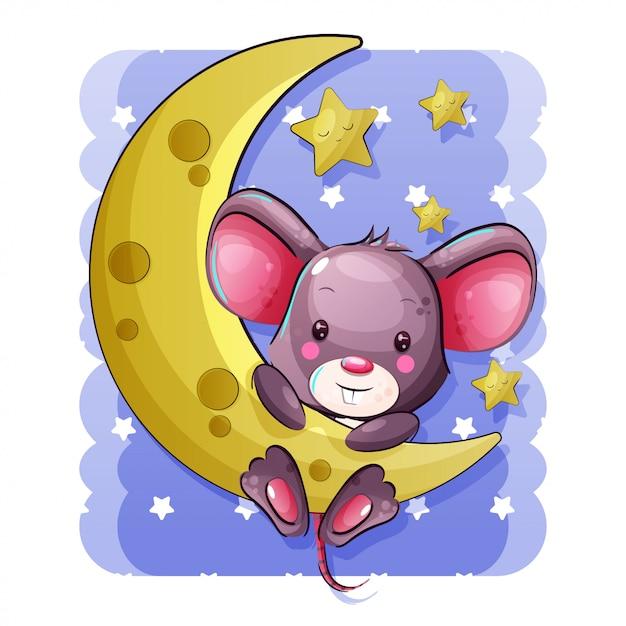 Śliczna kreskówki dziecka mysz wiesza na księżyc Premium Wektorów
