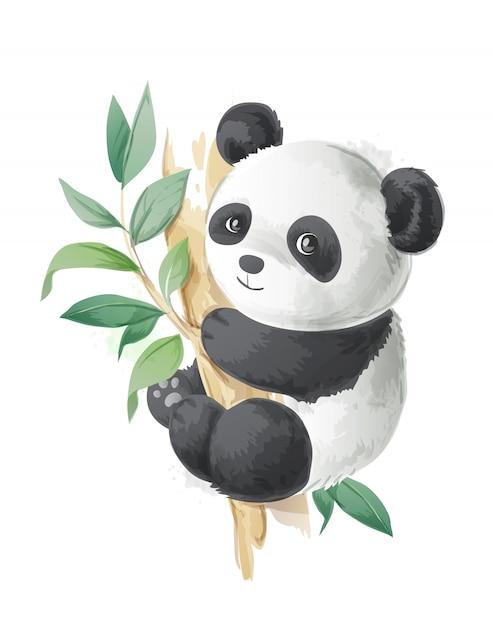 Śliczna kreskówki panda na drzewnej ilustraci Premium Wektorów