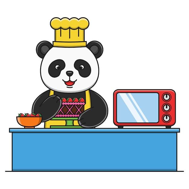 Śliczna Kreskówki Panda Robi Ciastu Premium Wektorów