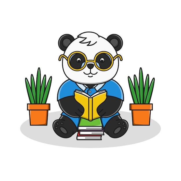 Śliczna Kreskówki Pandy Czytelniczej Książki Ilustracja Premium Wektorów