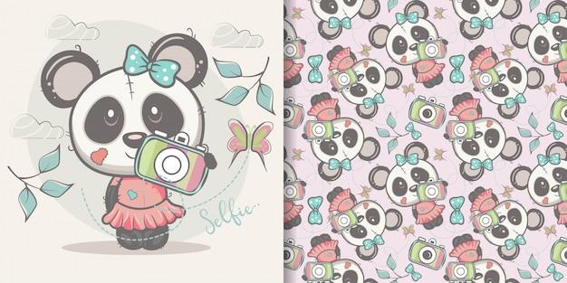 Śliczna kreskówki pandy dziewczyna z bezszwowym wzorem Premium Wektorów