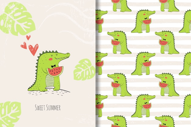 Śliczna krokodyl ręka rysująca karta i bezszwowy wzór Premium Wektorów