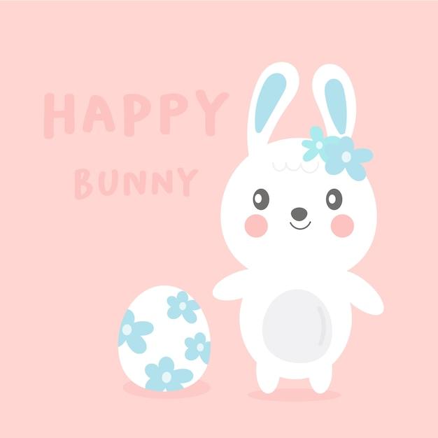 Śliczna królik kreskówka z kwiatu jajkiem dla wielkanocnego dnia Premium Wektorów