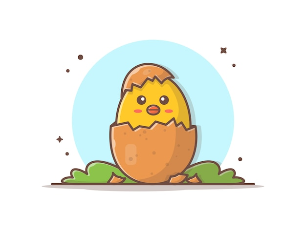 Śliczna kurczątka jajka ikony ilustracja Premium Wektorów