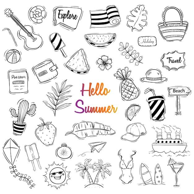 Śliczna Lato Ilustracja Z Doodle Lub Ręka Rysującym Stylem Premium Wektorów
