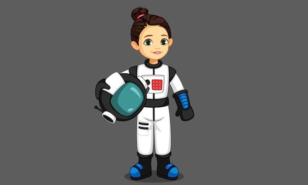 Śliczna Mała Astronauta Dziewczyna Premium Wektorów