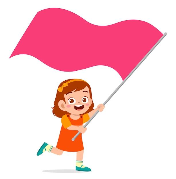 Śliczna Mała Dziewczynka Biegnie I Trzyma Flagę Premium Wektorów