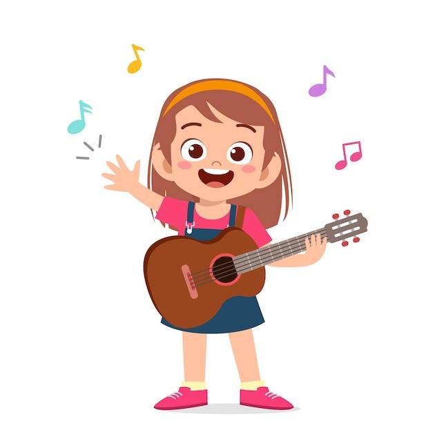 Śliczna Mała Dziewczynka Gra Na Gitarze Na Koncercie Premium Wektorów
