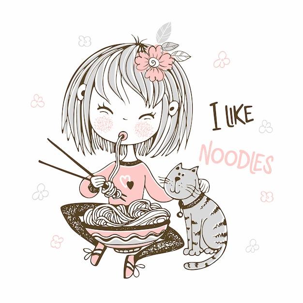 Śliczna Mała Dziewczynka Je Chopsticks Makaron. Premium Wektorów