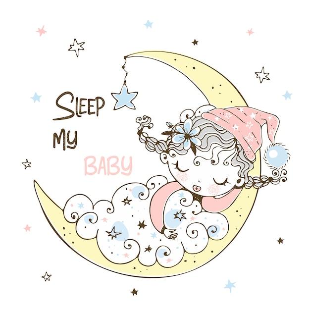 Śliczna Mała Dziewczynka W Piżamie śpi Na Księżycu. Premium Wektorów