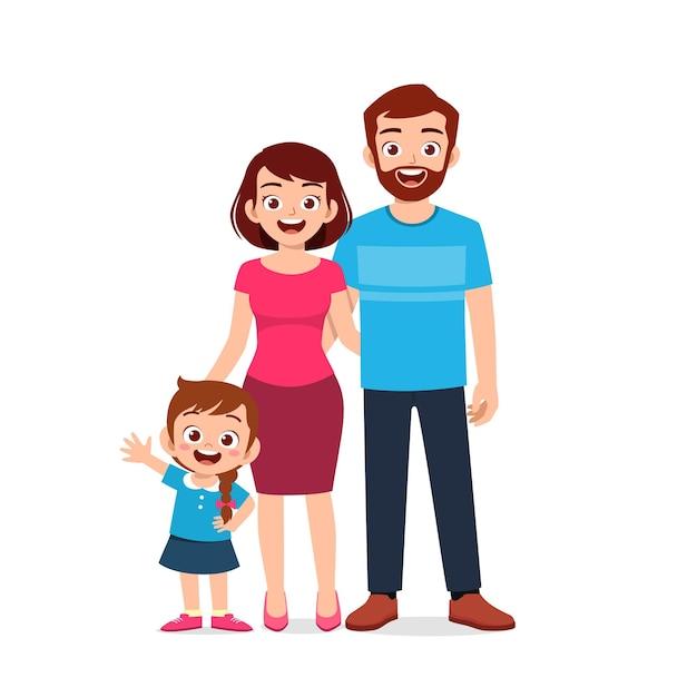 Śliczna Mała Dziewczynka Z Mamą I Tatą Razem Premium Wektorów