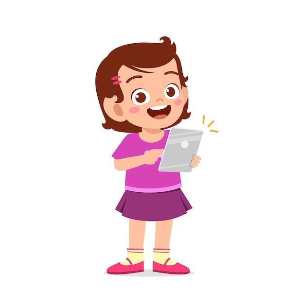 Śliczna Mała Dziewczynka Za Pomocą Smartfona I Internetu Premium Wektorów