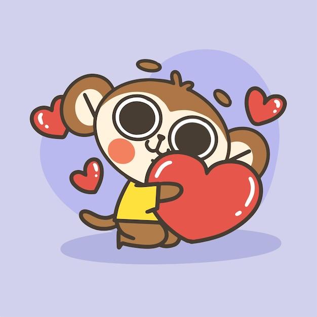 Śliczna Mała Małpa Przytulanie Duże Serce Doodle Ilustracja Premium Wektorów