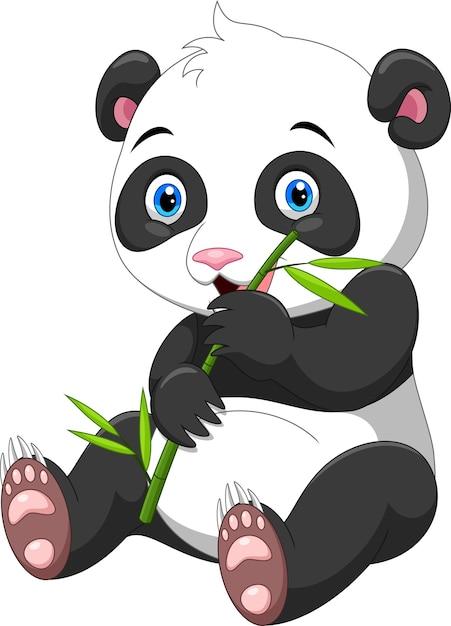 Śliczna Mała Panda Z Bambusem Premium Wektorów