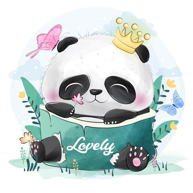 Śliczna Mała Panda Z Motylami Premium Wektorów