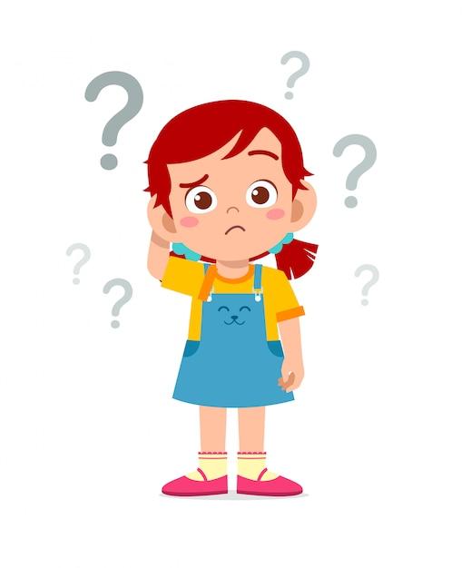 Śliczna Małe Dziecko Dziewczyny Myśl Z Znakiem Zapytania Premium Wektorów
