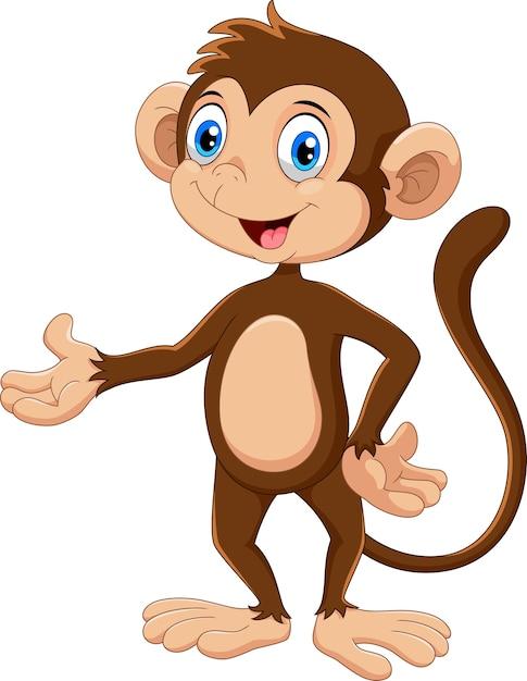 Śliczna Małpa Kreskówka Premium Wektorów