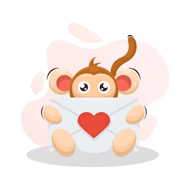 Śliczna Małpa Z Kopertową Miłości Kreskówką Premium Wektorów