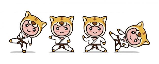 Śliczna Maskotka Karate Tygrys Premium Wektorów