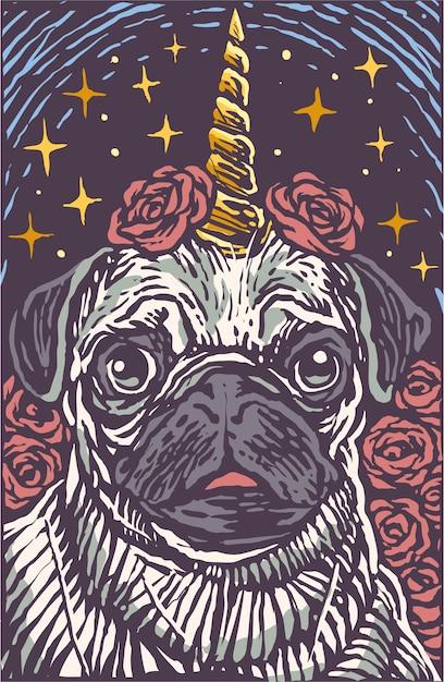 Śliczna mopsa psa jednorożec wygraweruje kreskówka stylu ilustrację Premium Wektorów