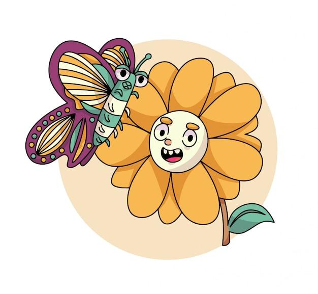 Śliczna Motyl I Słonecznikowa Ilustracja Premium Wektorów