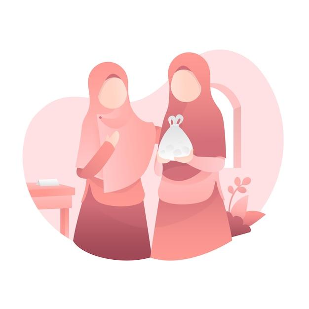 Śliczna muzułmańska kobieta jest ubranym welon ilustrację Premium Wektorów