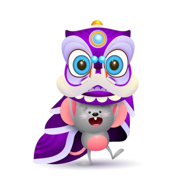 Śliczna mysz trzyma karnawałowego kostium Darmowych Wektorów