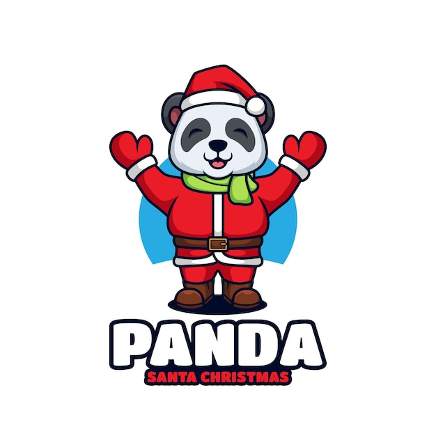 Śliczna Panda Kostium świętego Mikołaja Premium Wektorów