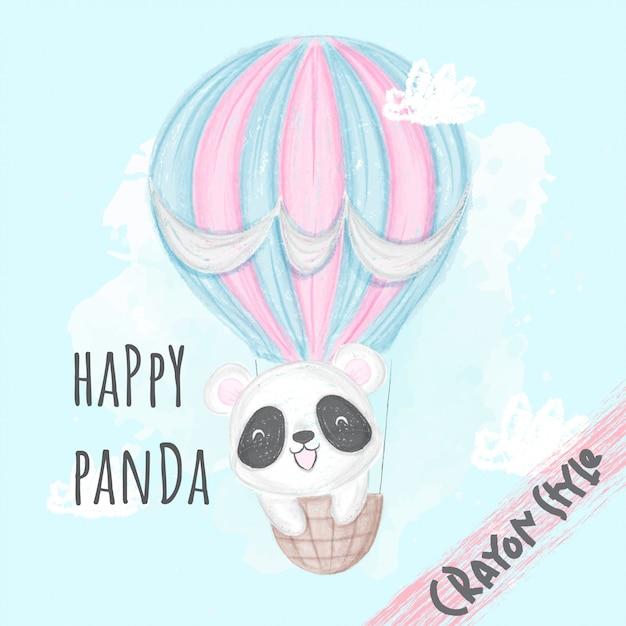 Śliczna Panda Lata Z Balonową Zwierzęcą Ilustracją Dla Dzieci-kredkowego Stylu Premium Wektorów