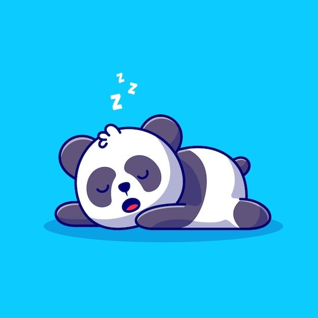 Śliczna Panda Spanie Ikona Ilustracja Kreskówka. Koncepcja Ikona Natura Zwierząt Na Białym Tle. Płaski Styl Kreskówki Darmowych Wektorów