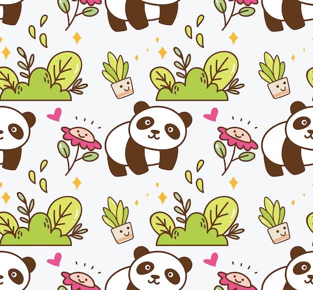 Śliczna panda z kwiatu bezszwowym tłem Premium Wektorów