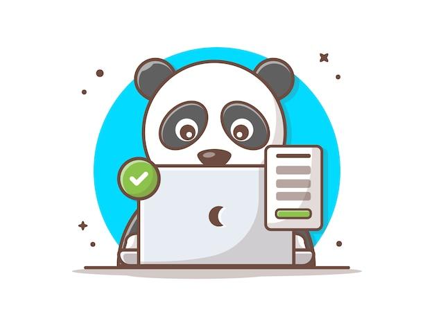 Śliczna Panda Z Laptopem I Pomyślną Szyldową Wektorową Ikony Ilustracją. Premium Wektorów