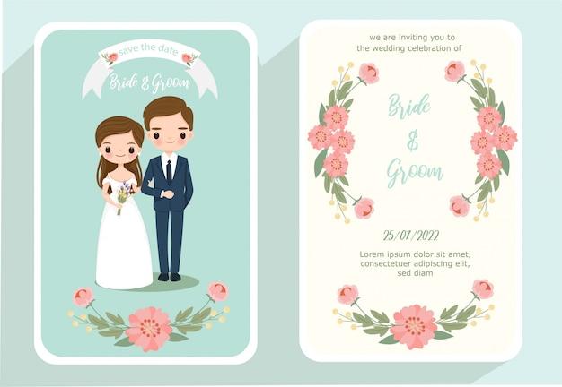 Śliczna panna młoda i pan młody kreskówka na ślub zaproszenia karty Premium Wektorów