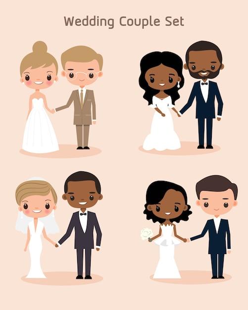 Śliczna panna młoda i pan młody para dla ślubnej zaproszenie karty Premium Wektorów