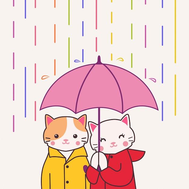 Śliczna Para Kota Mienia Parasol Pod Kolorowym Deszczem Premium Wektorów