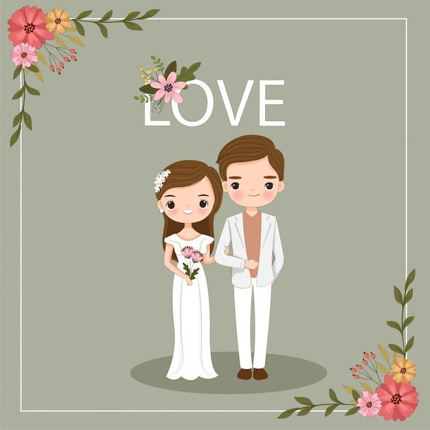 Śliczna para para dla ślubnej zaproszenie karty Premium Wektorów