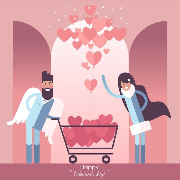 Śliczna para zakochana w koszyku i walentynki balon w kształcie serca Premium Wektorów