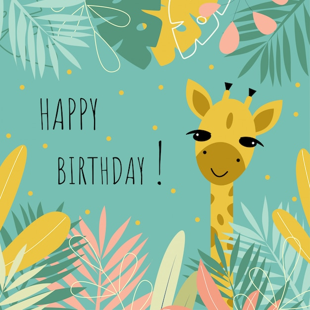 Śliczna Pocztówka Z żyrafą, Kwiatami, Liśćmi I Napisem Premium Wektorów