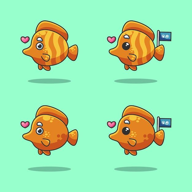 Śliczna Pomarańczowa Nemo Ryba Kreskówka W Morzu świętuje światowego Dzień Oceanu Premium Wektorów