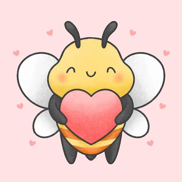 Śliczna Pszczoła Trzyma Kierową Ręka Rysującą Kreskówki Styl Premium Wektorów
