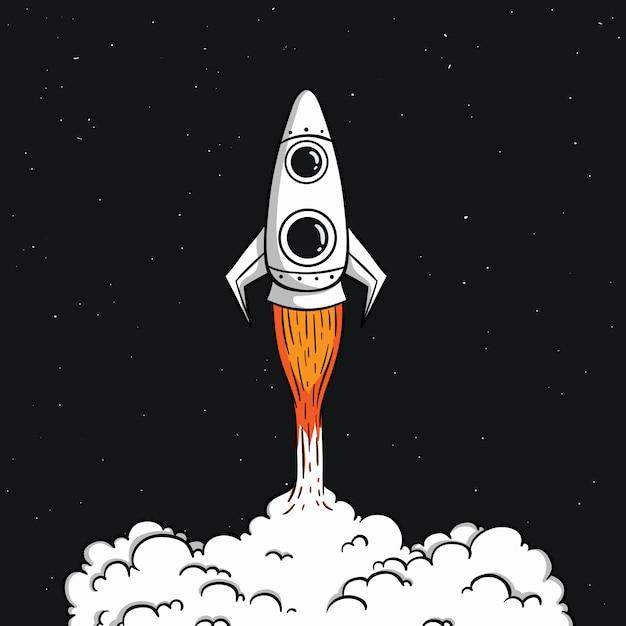 Śliczna rakieta kosmiczna startuje z kolorowym doodle stylem w przestrzeni kosmicznej Premium Wektorów