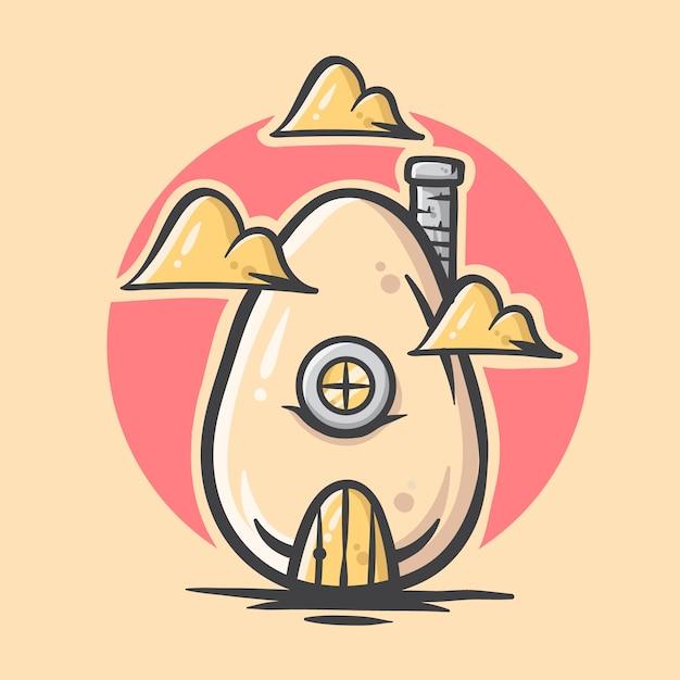 Śliczna Ręka Rysująca Jajecznego Domu Ilustracja Premium Wektorów