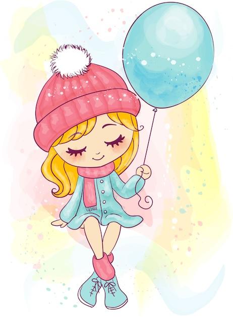 Śliczna ręka rysująca mała dziewczynka siedzi balon i trzyma Premium Wektorów