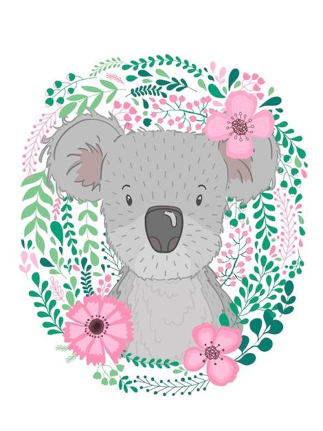Śliczna ręka rysująca zwierzęca koala z dzieckiem Premium Wektorów