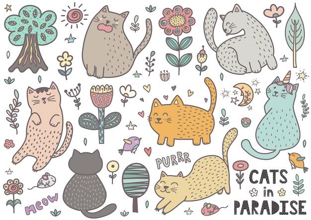 Śliczna Ręka Rysujący Doodle Koty. Kolekcja Zabawnych Kociąt Premium Wektorów
