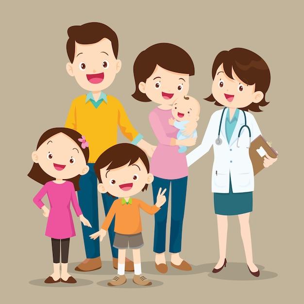 Śliczna Rodzina Z Dzieckiem I Lekarka Premium Wektorów