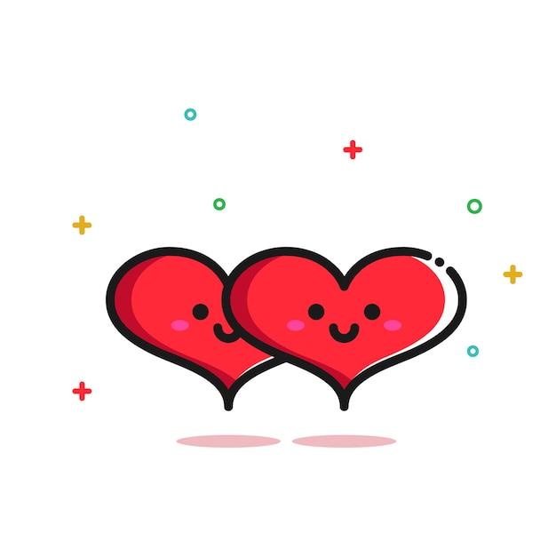 Śliczna romantyczna dwa miłości kierowa ilustracyjna para Premium Wektorów